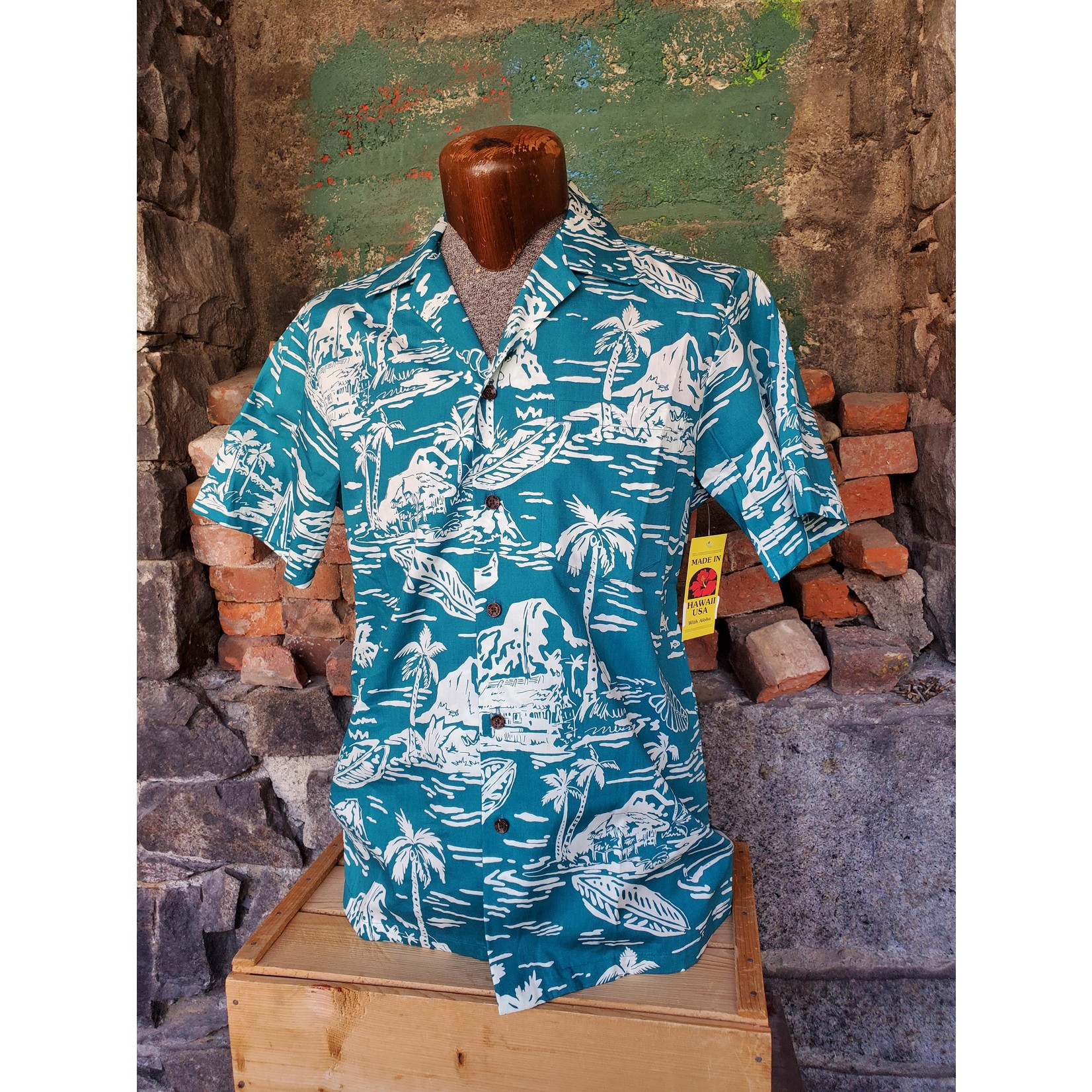 RJC Authentic Hawaiian Shirt - Impressionist Teal