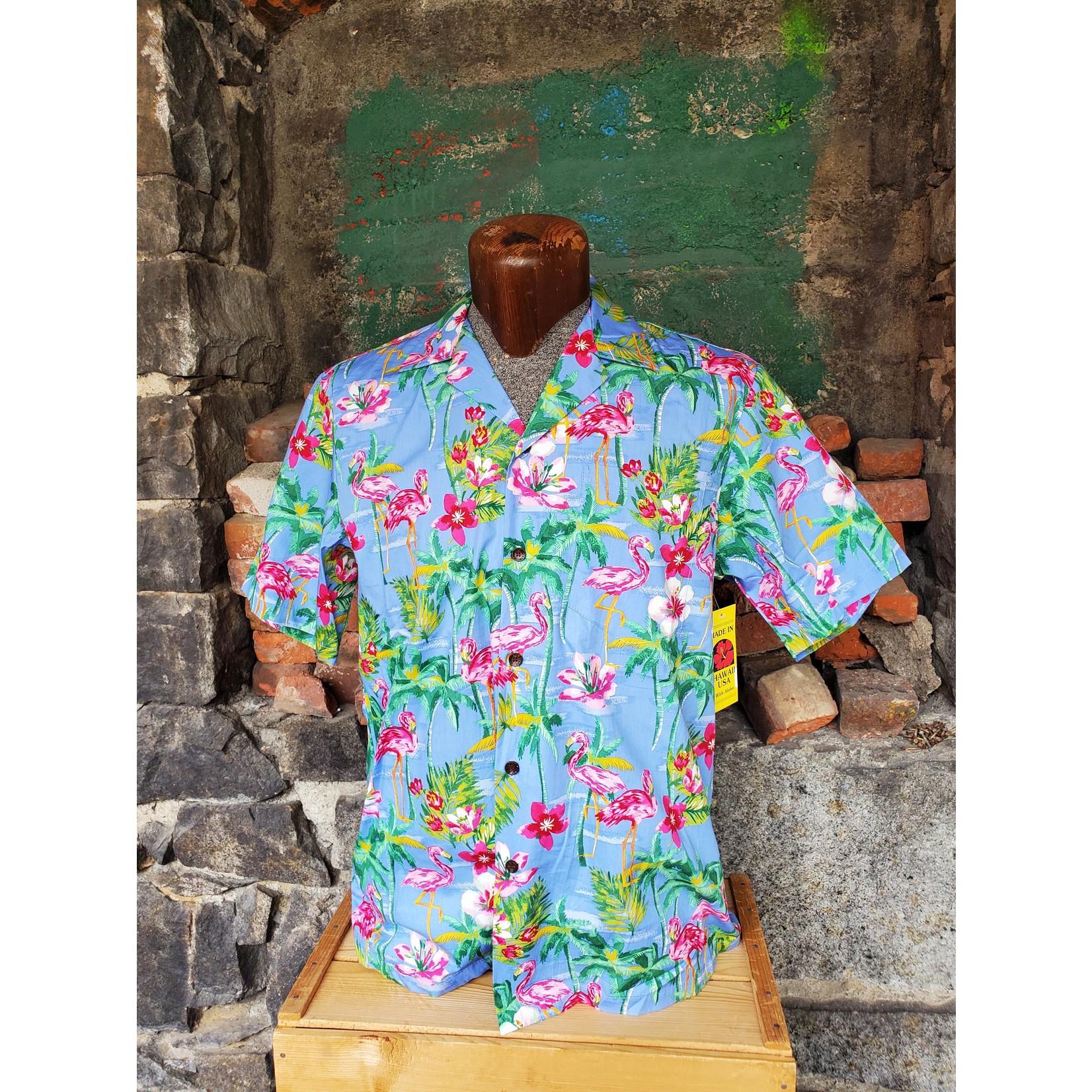 RJC Authentic Hawaiian Shirt - Blue Flamingo Floral