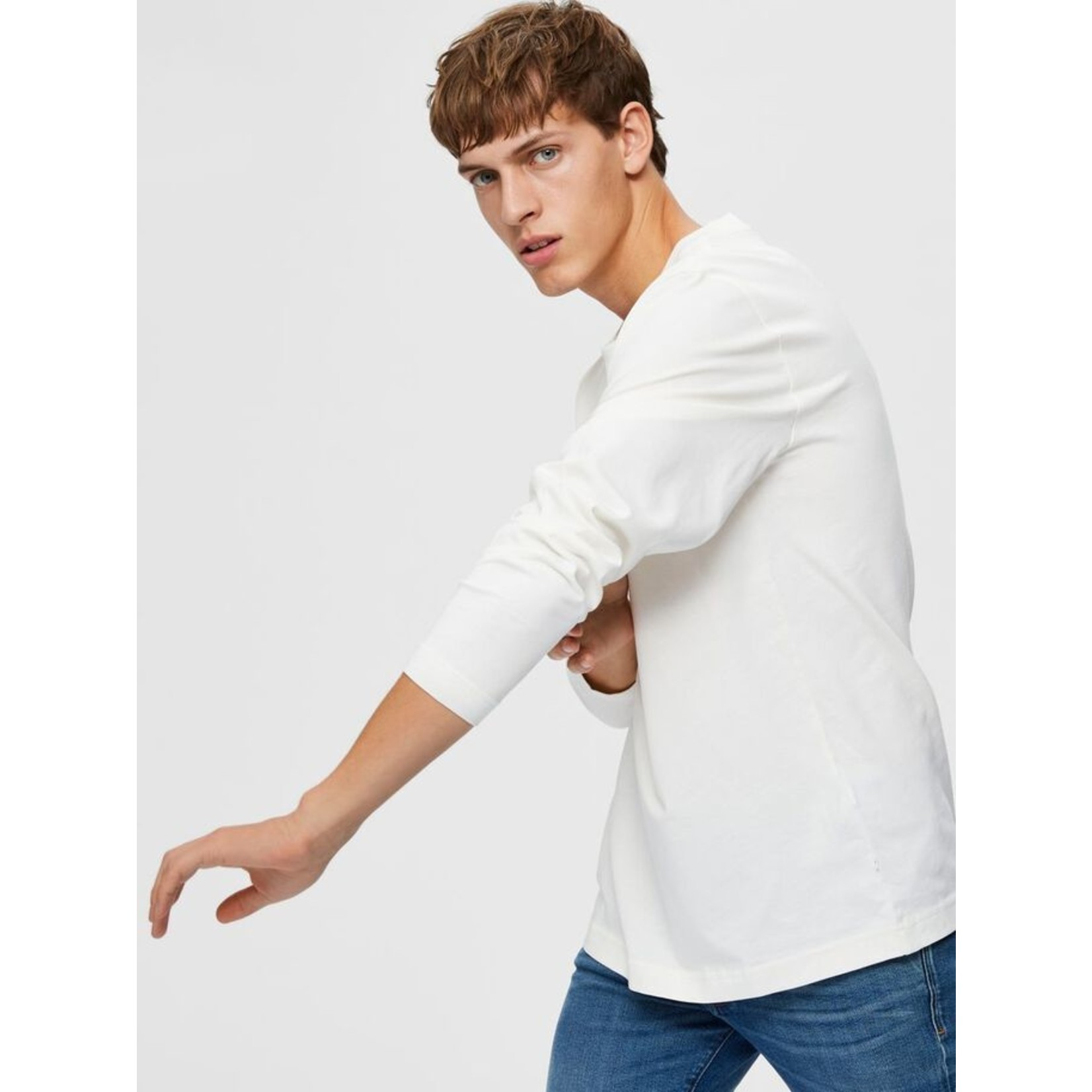 Selected Homme Selected Homme 16078605 Colman Relaxed Long-Sleeve Tee - Egret