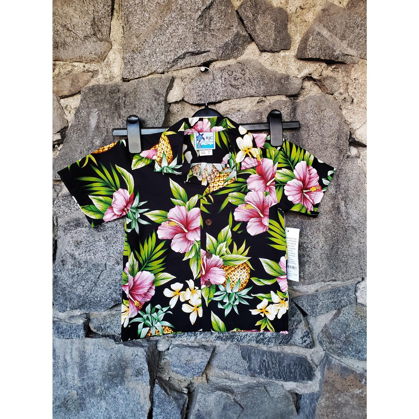 RJC YOUTH Hawaiian Shirt - Black Hibiscus