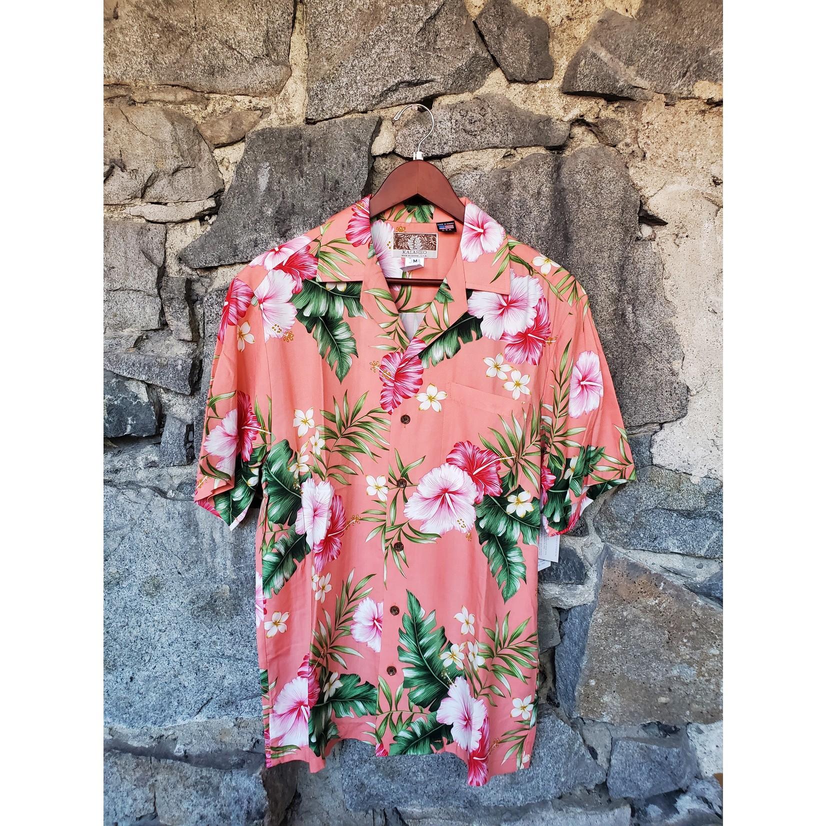 RJC Kalaheo Aloha Shirt - Coral Hibiscus
