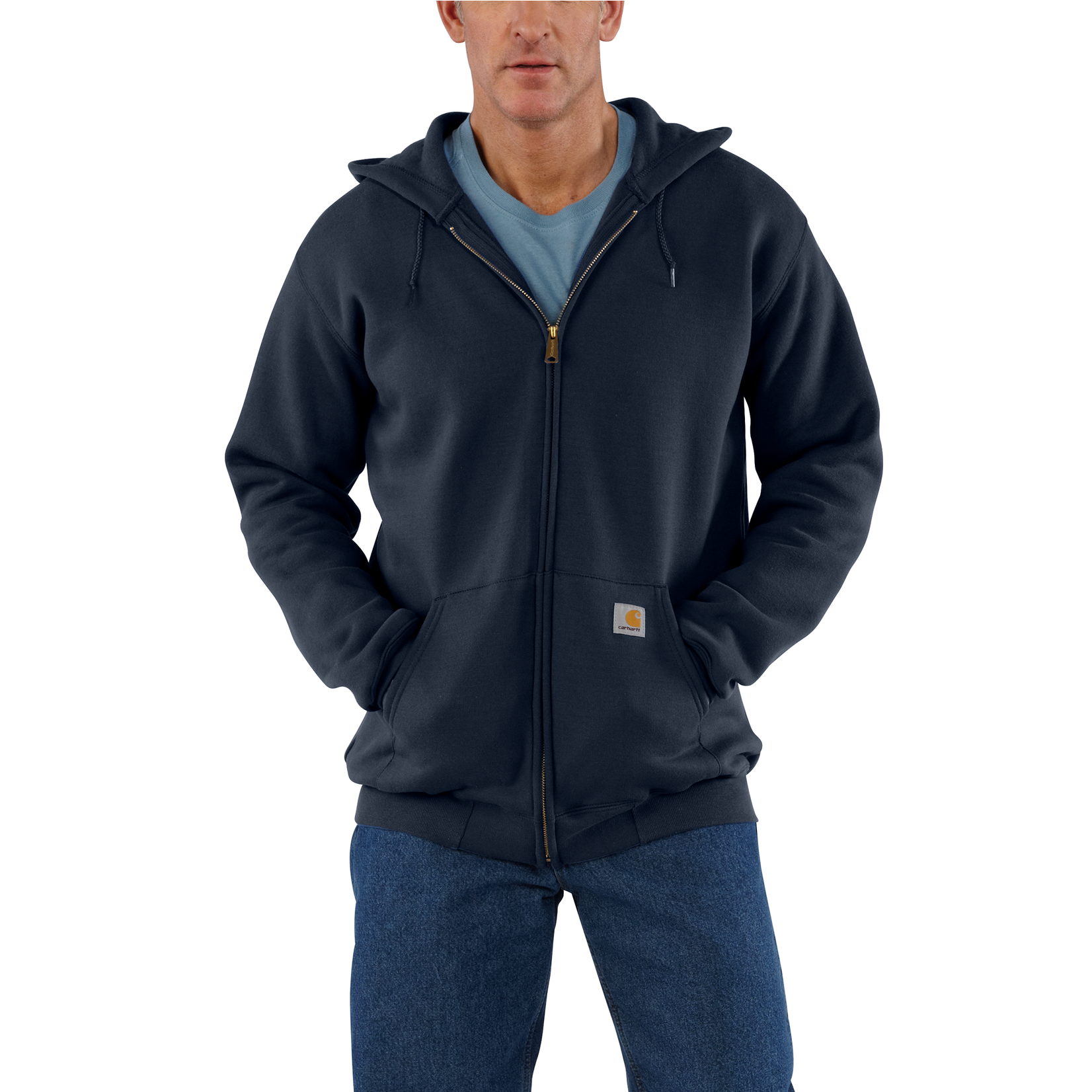 Carhartt Carhartt K122 Loose-Fit Midweight Full-Zip Hooded Sweatshirt - 472 New Navy