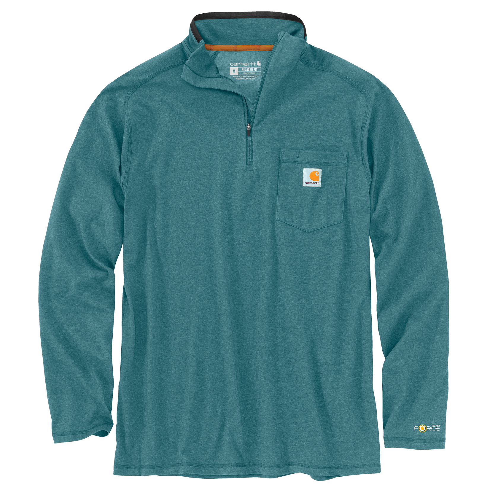 Carhartt Carhartt 104255 Carhartt Quarter-Zip Long-Sleeve Tee - Blue Spruce