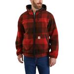 Carhartt Carhartt Rain Defender Relaxed Fit Fleece Reversible Jacket - Oxblood Plaid/ Black
