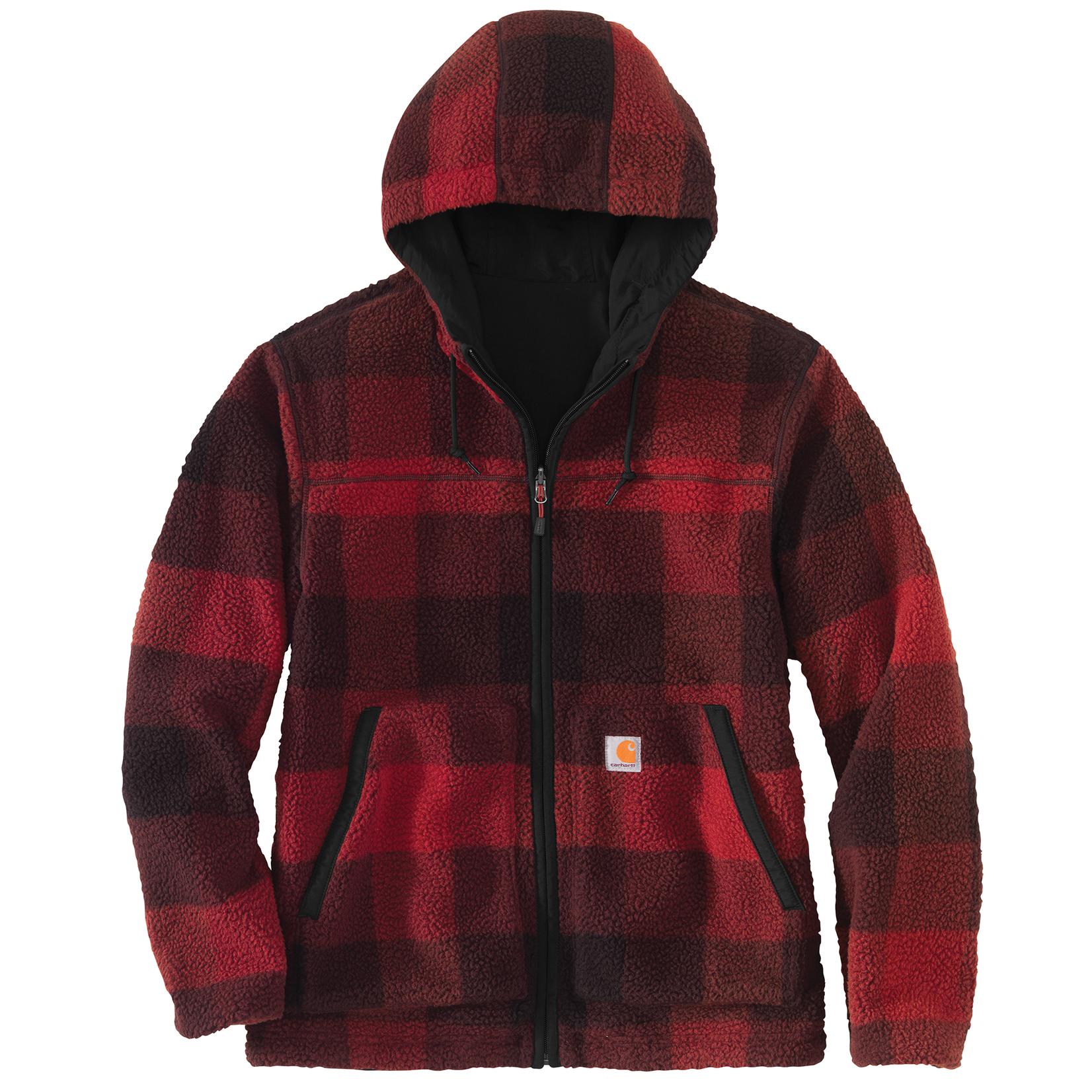 Carhartt Carhartt 104992 Rain Defender Relaxed Fit Fleece Reversible Jacket - R55 Oxblood Plaid/ Black