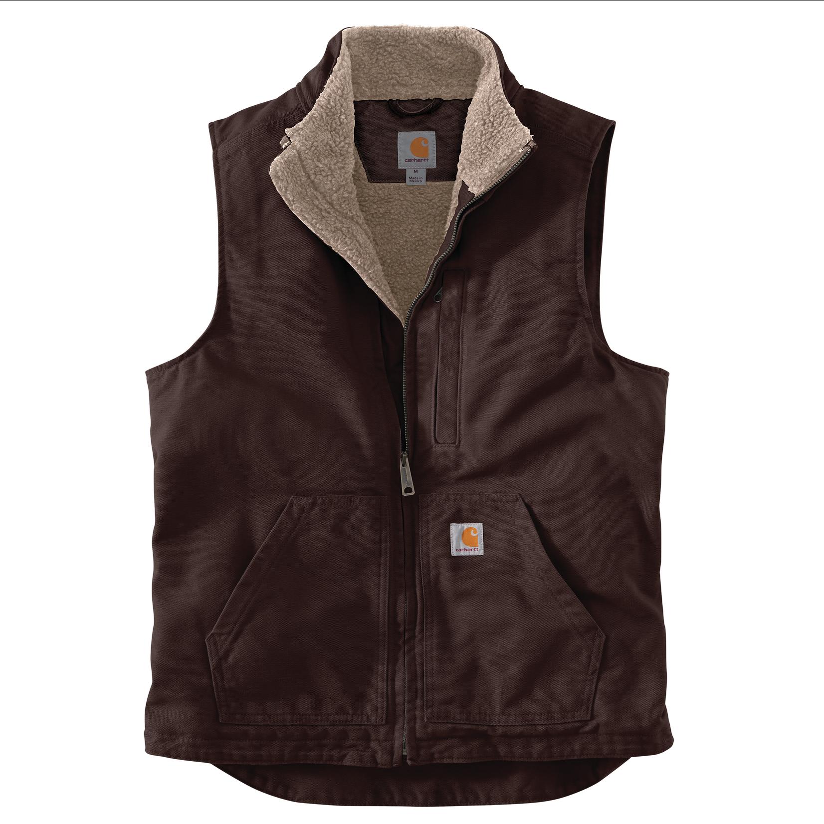 Carhartt Carhartt 104277 Loose Fit Washed Duck Sherpa Lined Mock-Neck Vest - DKB Dark Brown