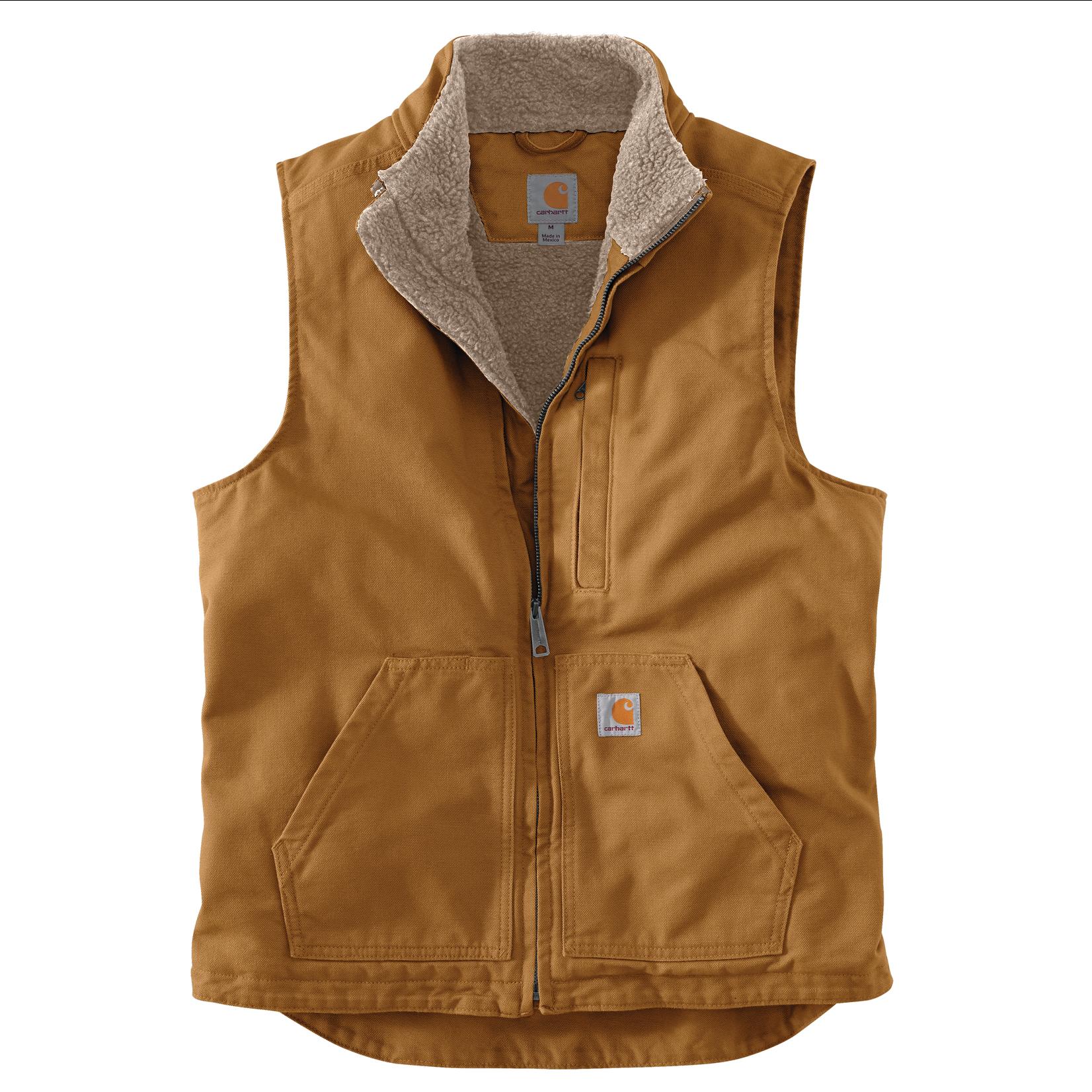Carhartt Carhartt 104277 Loose Fit Washed Duck Sherpa Lined Mock-Neck Vest - BRN Carhartt Brown