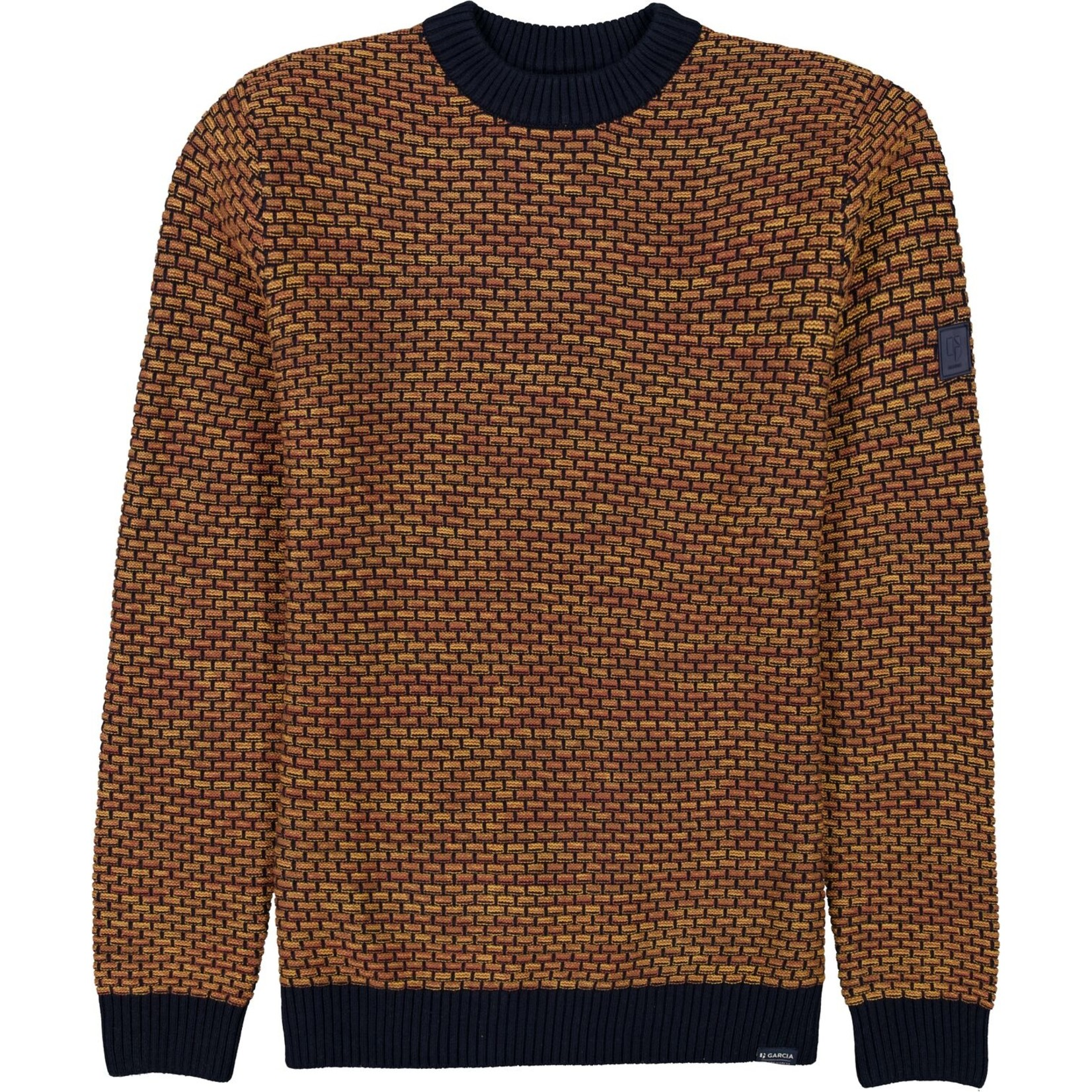 Garcia Garcia I11044 Cotton Crew Neck Sweater - 8830 Burnt Caramel