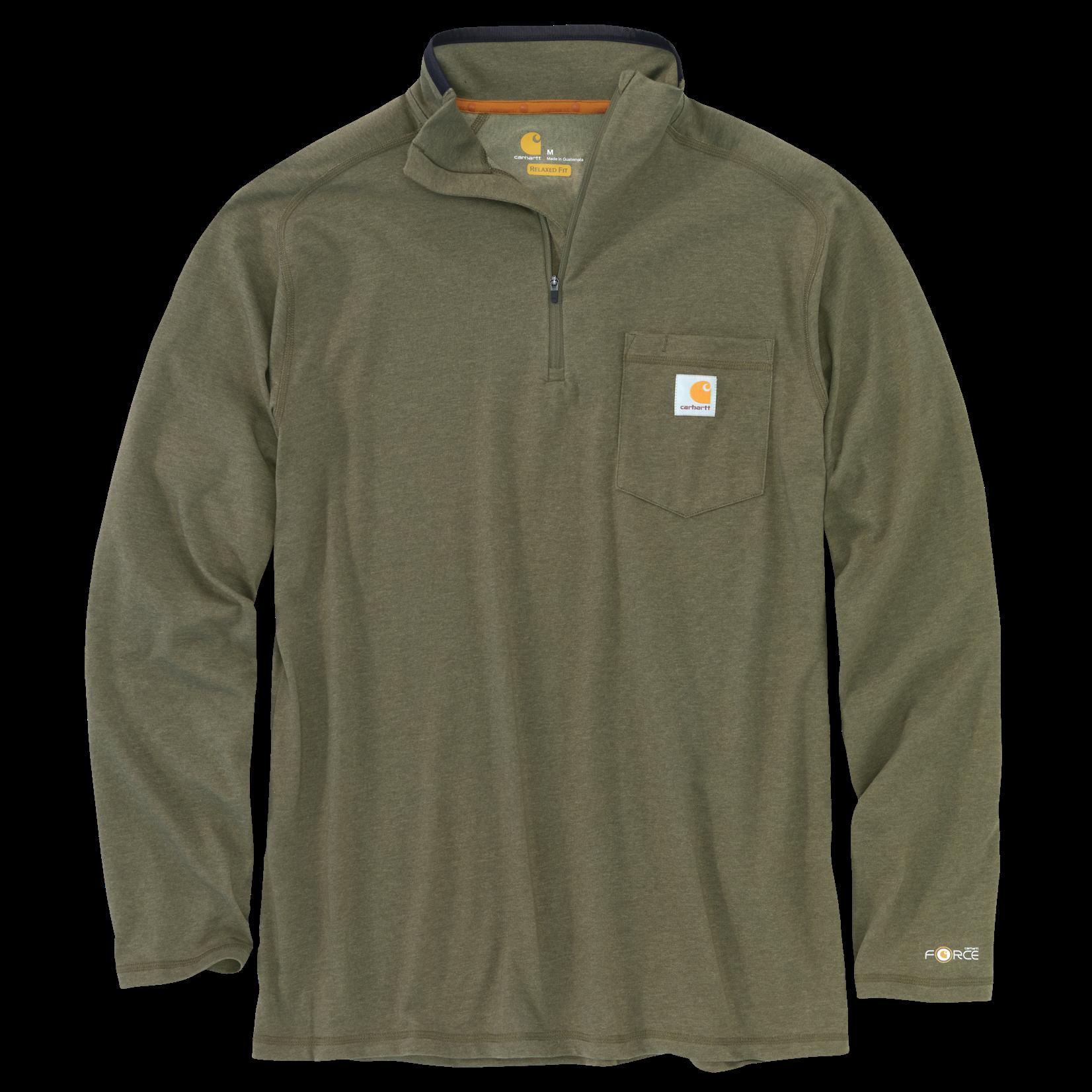 Carhartt Carhartt 104255 Relaxed Fit Mid Weight Long Sleeve Quarter Zip Mock Neck - 387 Moss Heather
