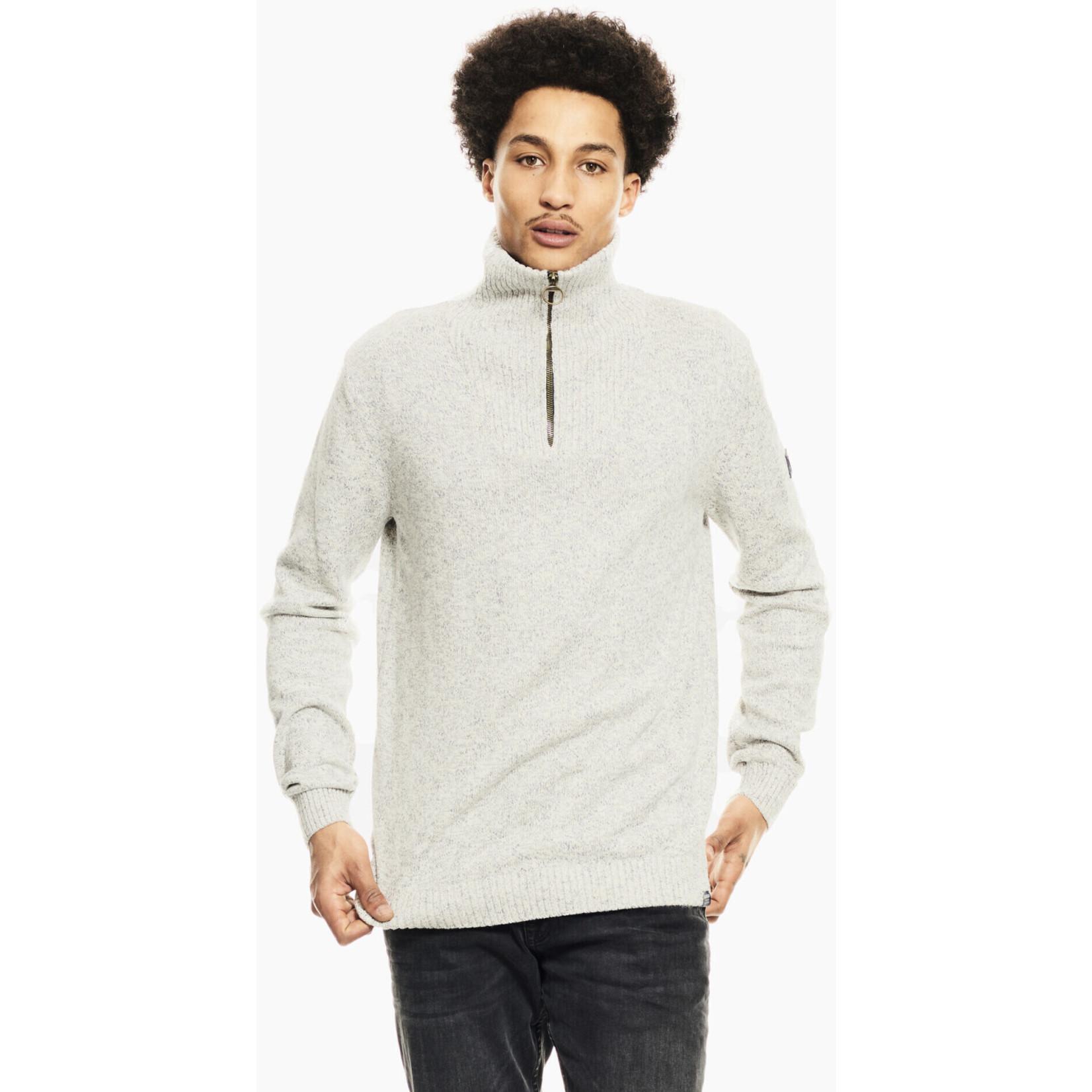 Garcia Garcia I11039 Cotton Zip Neck Sweater - 1855 Cream Melee