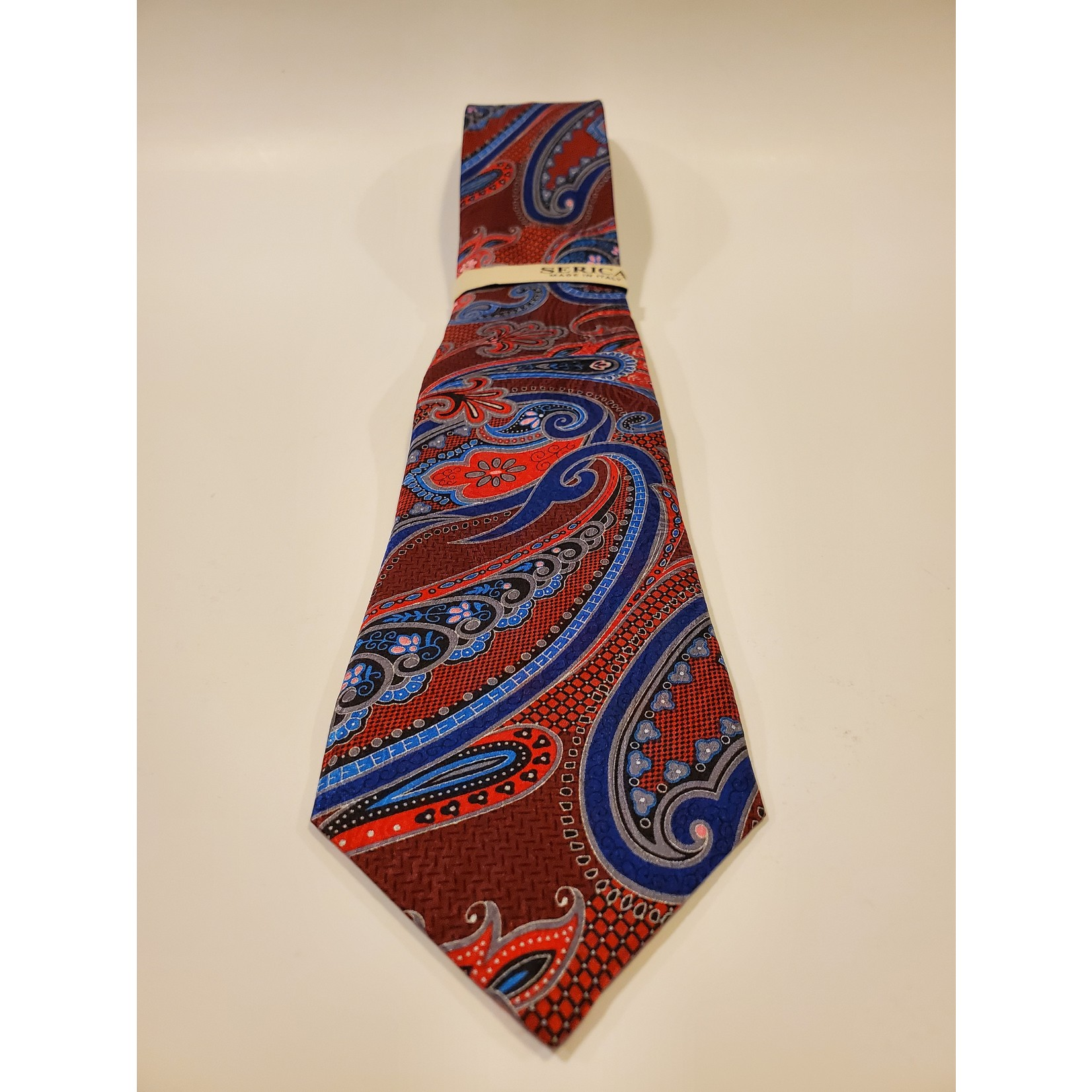 Serica 203218 Printed Silk Tie A - Large Red Paisley