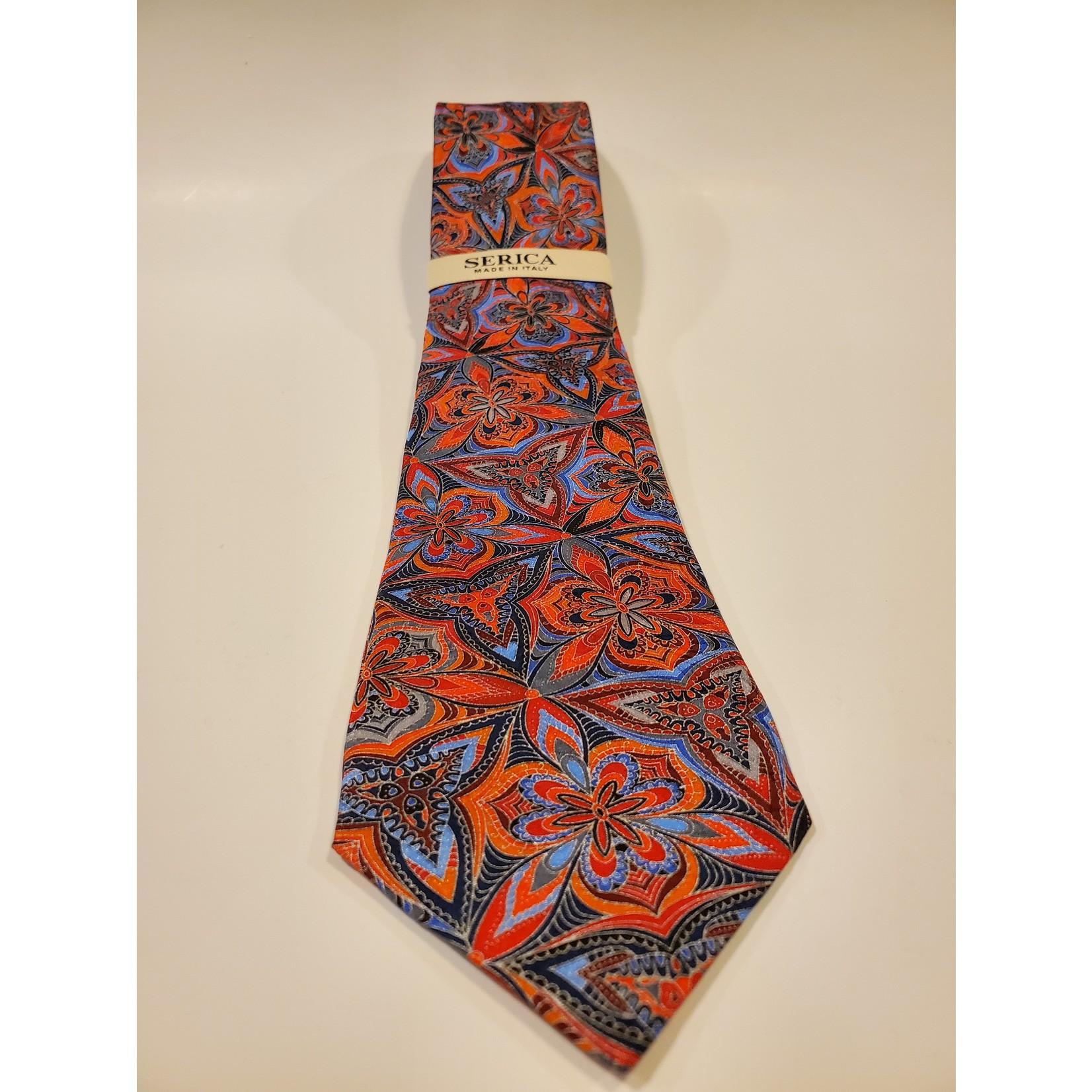 Serica 203218 Printed Silk Tie B - Large Red Floral