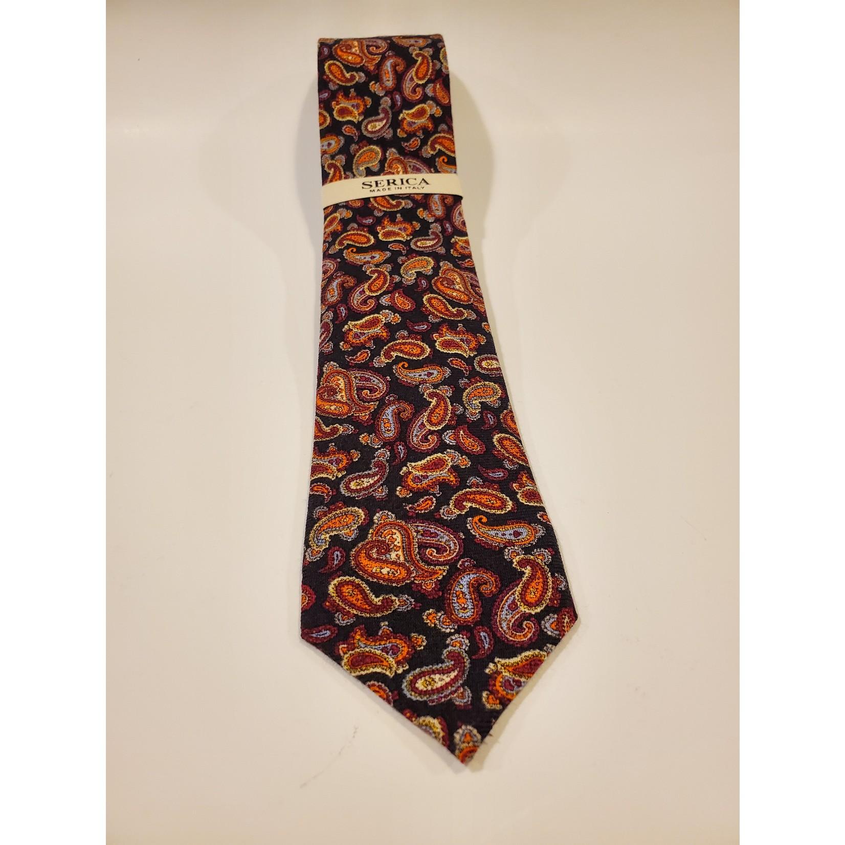 Serica 201955 Printed Wool/ Silk Tie C - Burgundy Paisley