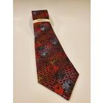 Serica Jacquard Silk Tie - Red Floral Checkerboard