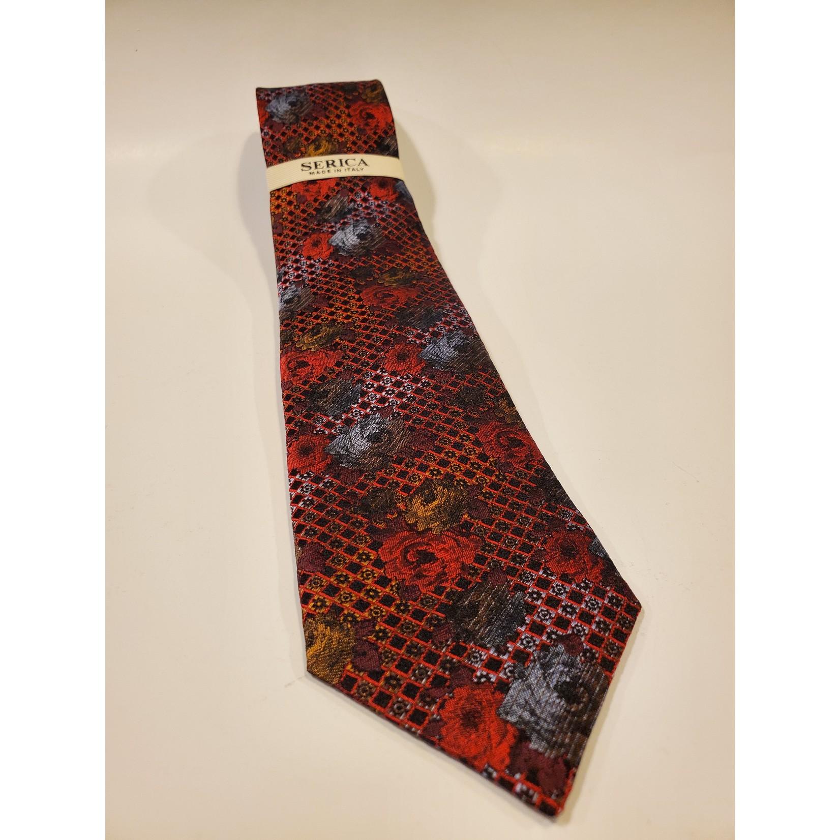 Serica 213215 Jacquard Silk Tie C - Red Floral Checkerboard