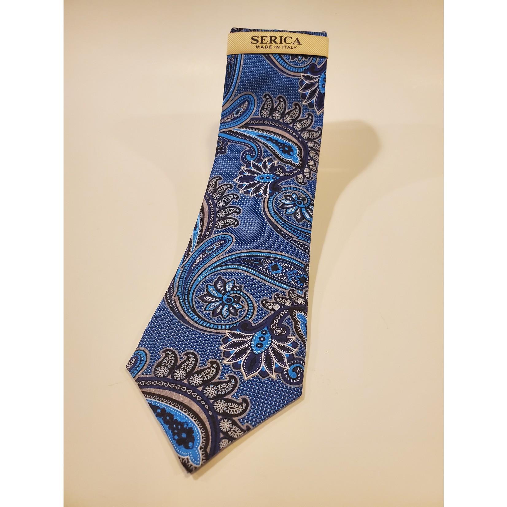 Serica 203216 Printed Silk Tie C - Blue Oversize Paisley