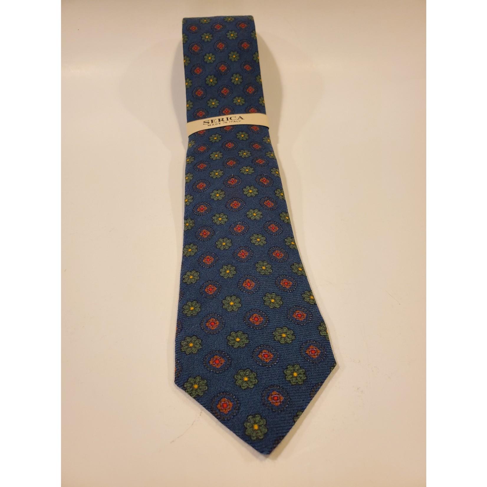 Serica 201954 Printed Wool/ Silk Tie B - Green Geo Floral Pattern