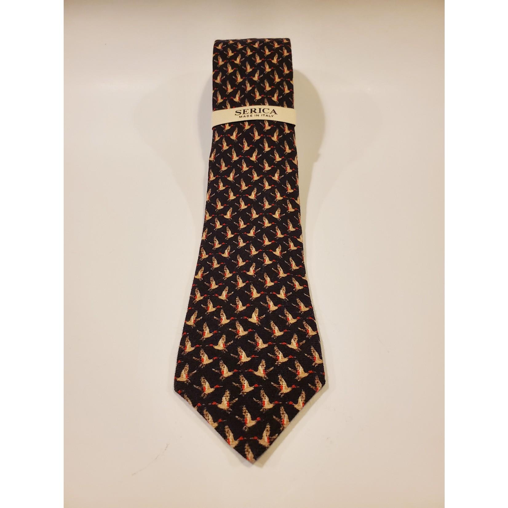 Serica 201950 Printed Wool/ Silk Tie A - Black Geo Duck Pattern