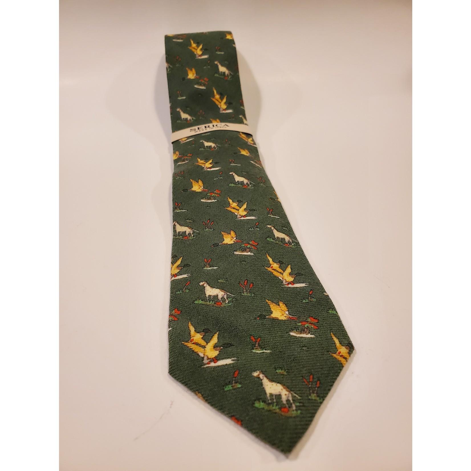 Serica 201951 Printed Wool/ Silk Ties C - Green Duck Hunting Pattern