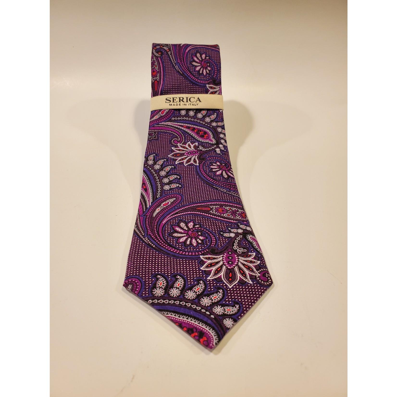 Serica 203217 Printed Silk Tie C - Purple Oversize Paisley