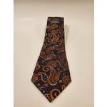 Serica Jacquard Silk Tie - Orange/ Black Paisley