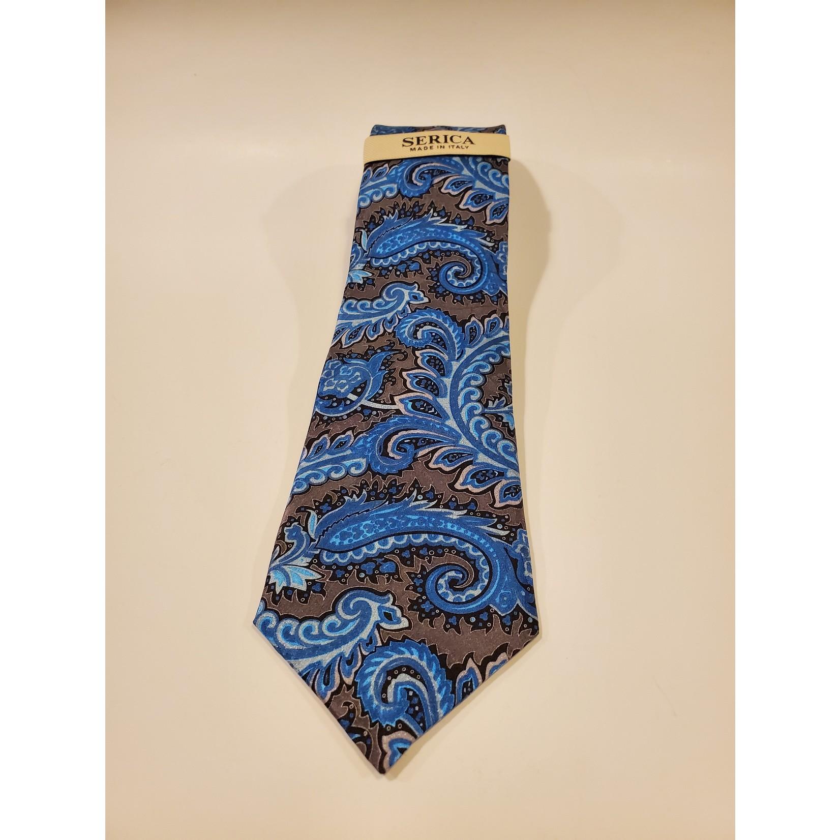 Serica 193268 Printed Silk Tie A - Blue/ Grey Large Paisley