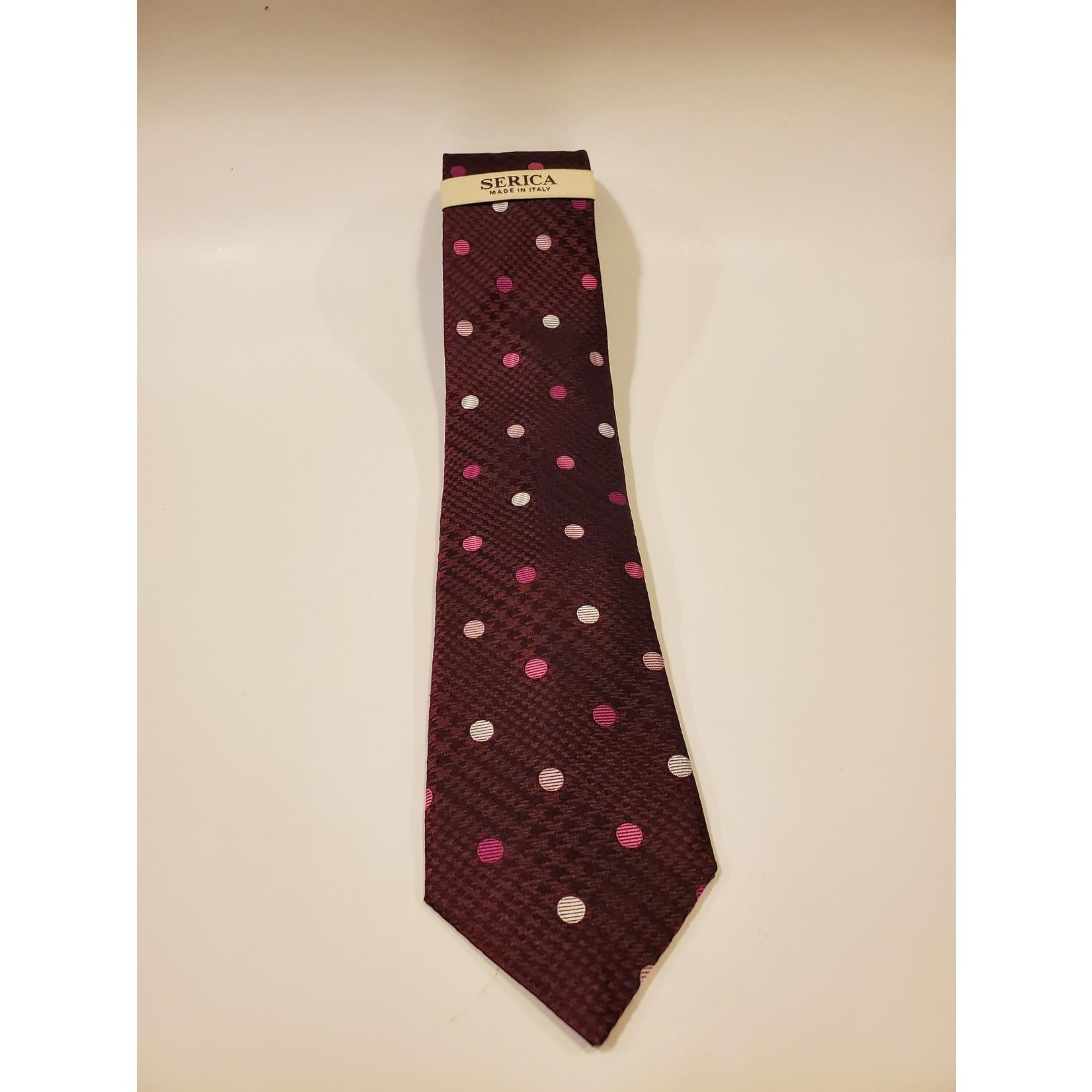 Serica 203234 Jacquard Silk Tie C - Purple POW Check Dot
