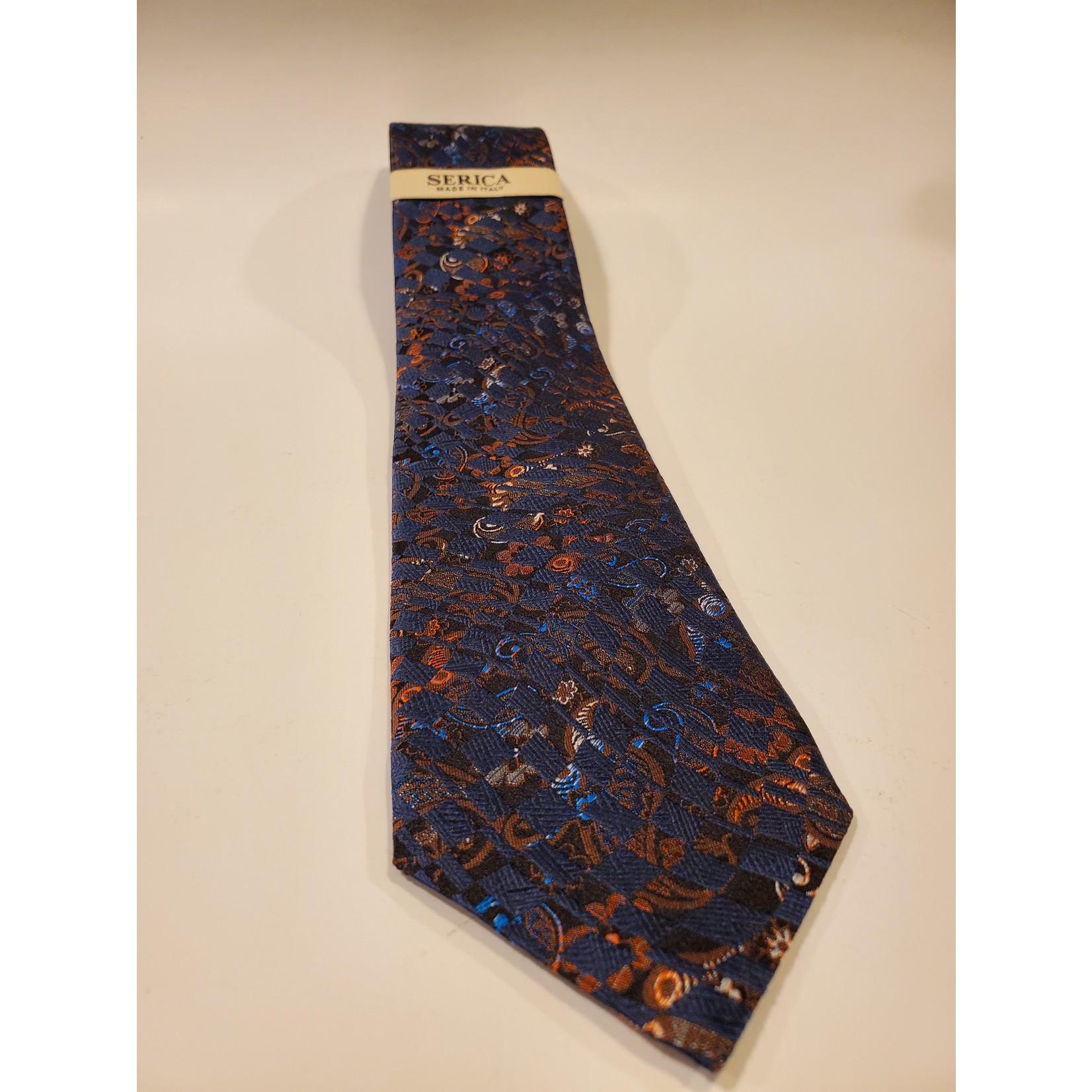 Serica 203236 Jacquard Silk Tie A - Navy Check Paisley