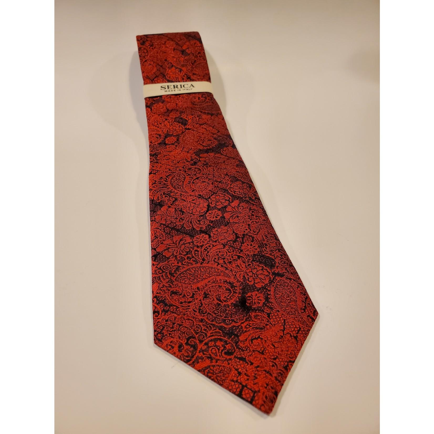 Serica 203230 Jacquard Silk Tie C - Red Floral