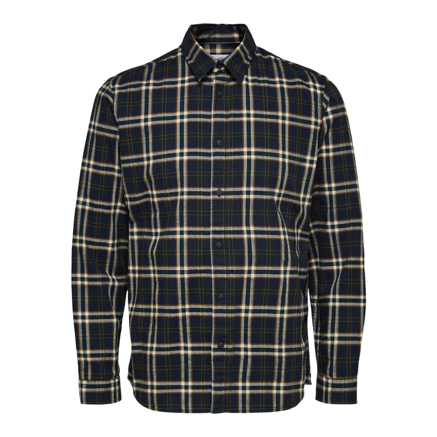 Selected Homme Selected 16082965 Trent Long-Sleeve Check Shirt - Dark Navy Checks