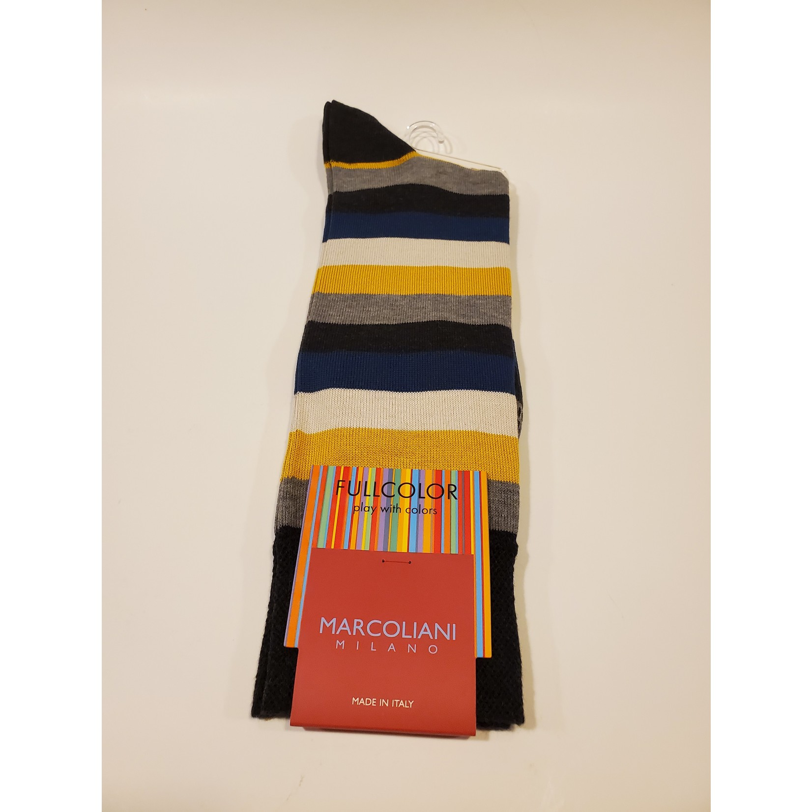 Marcoliani Marcoliani Full Color MAR4524T Collage Stripe - Z23 Charcoal Curry
