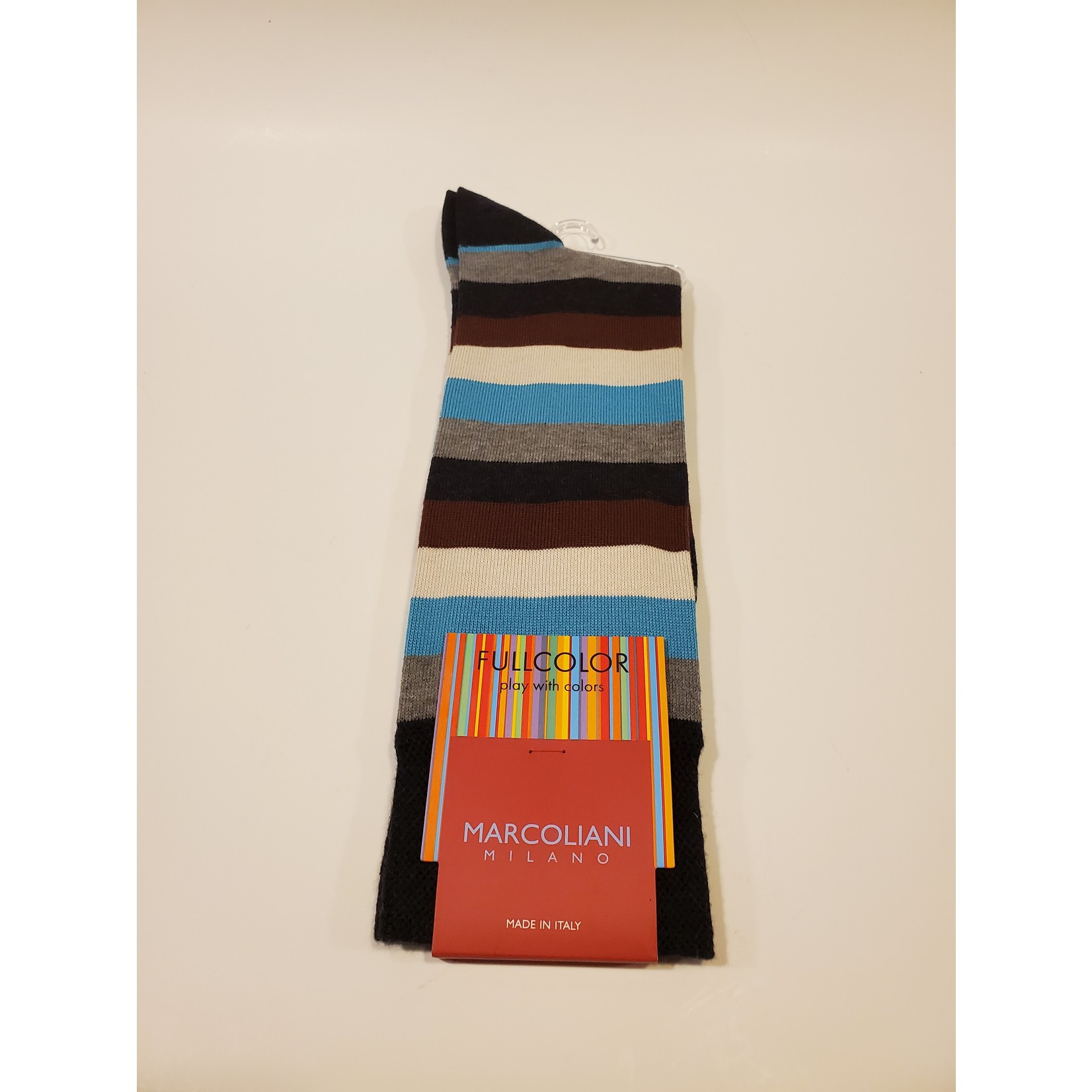 Marcoliani Marcoliani Full Color MAR4524T Collage Stripe - Z69 Charcoal Blue