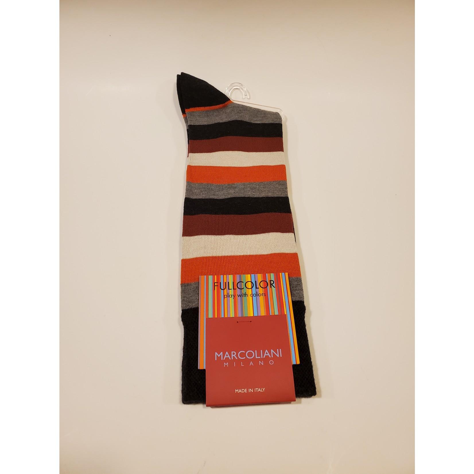Marcoliani Marcoliani Full Color MAR4524T Collage Stripe - Z75 Charcoal Orange