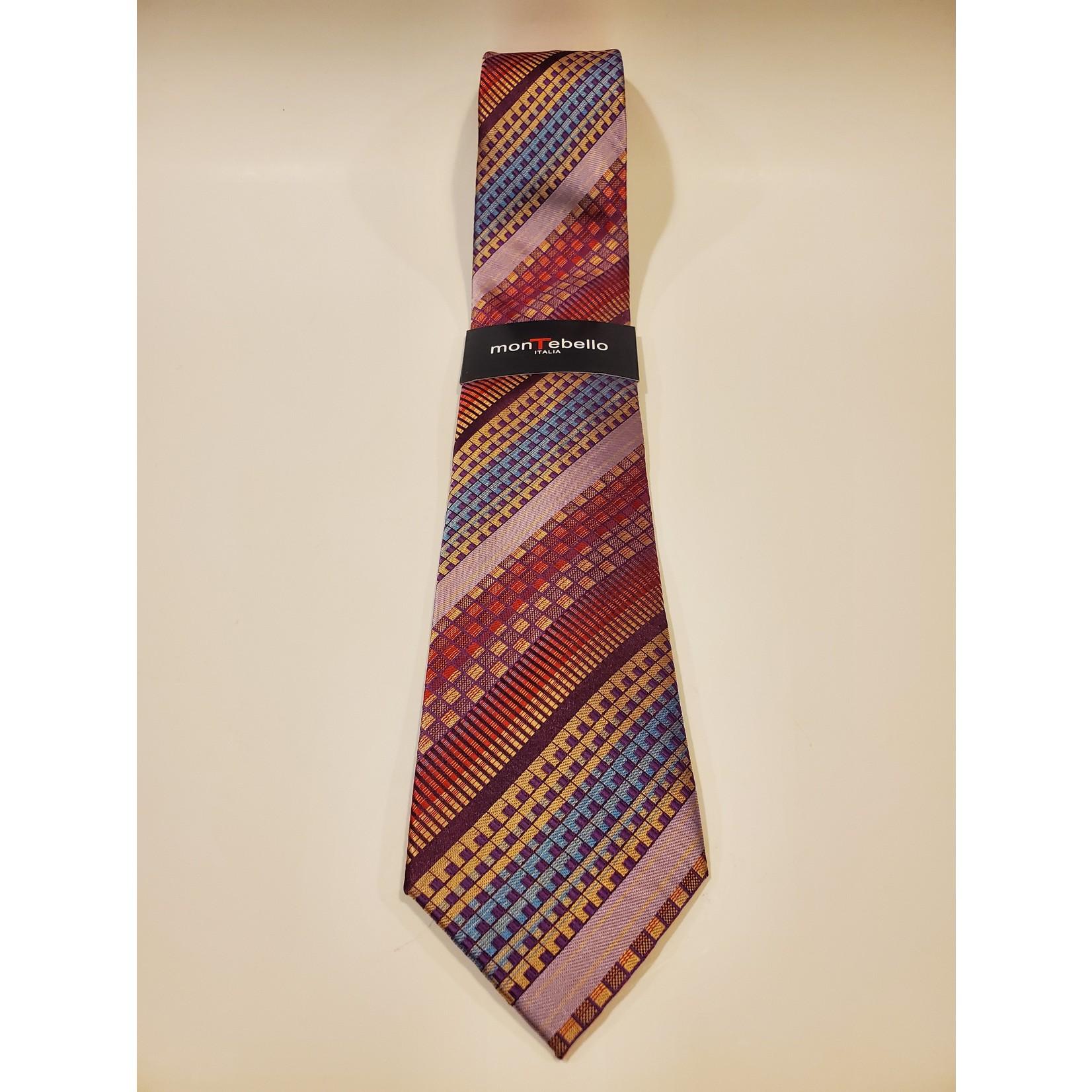 Montebello 1665 Jacquard Silk Tie Pink Geo Stripes