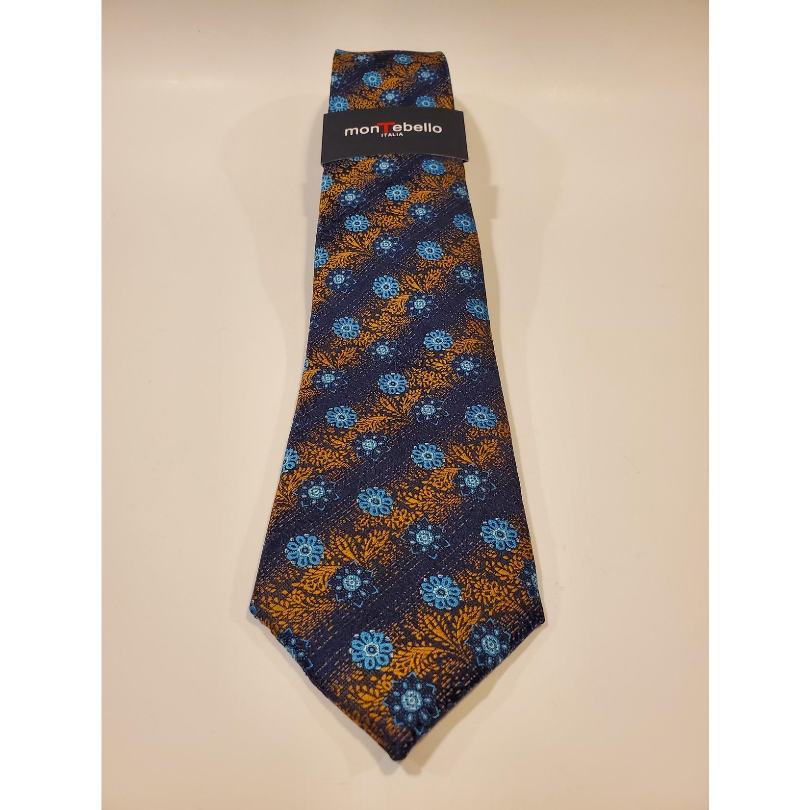 Montebello 1603 Jacquard Silk Tie - Blue Floral Pattern