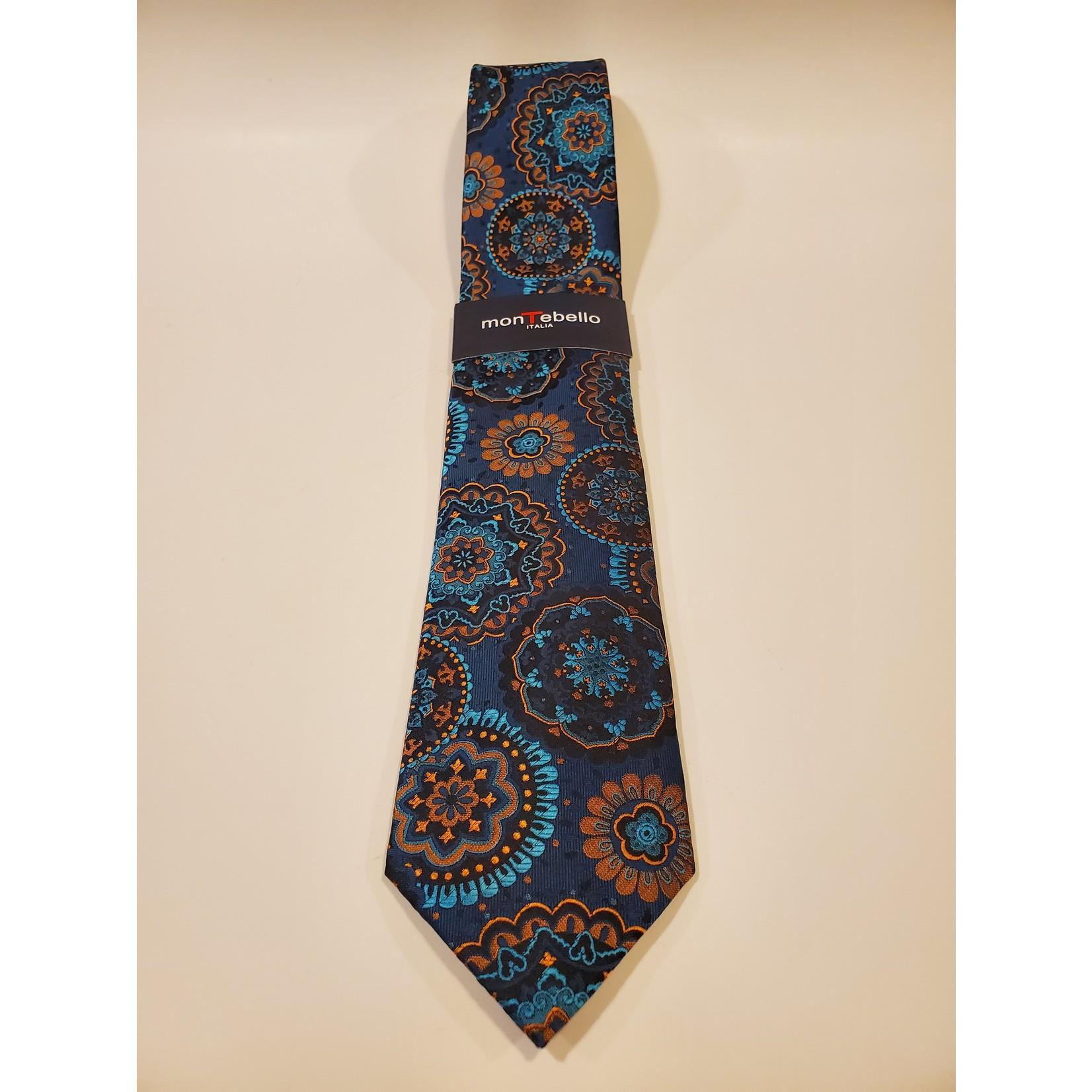 Montebello 1672 Jacquard Silk Tie - Teal Kaleidoscope Pattern