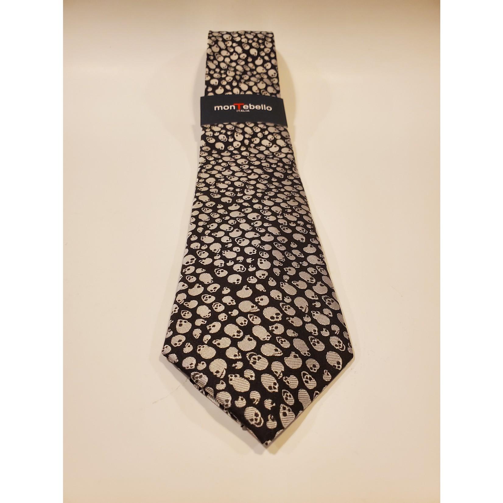 Montebello 1620 Jacquard Silk Tie - White Micro Skulls