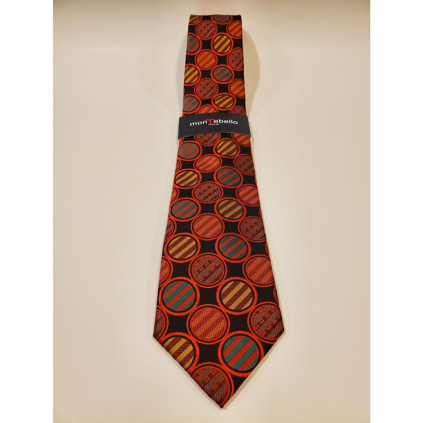 Montebello 1700 Jacquard Silk Tie - Red Circle Pattern