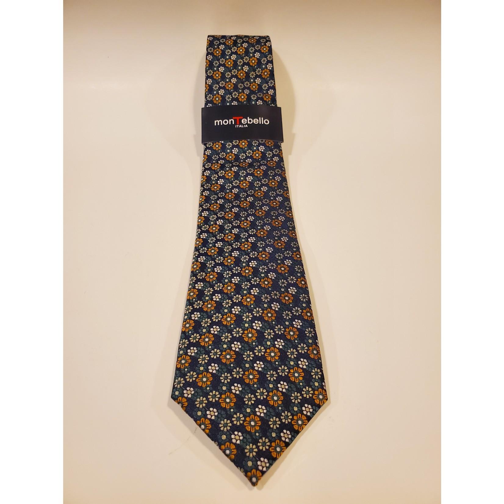 Montebello 1611A Jacquard Silk Tie - Green Micro Floral Pattern