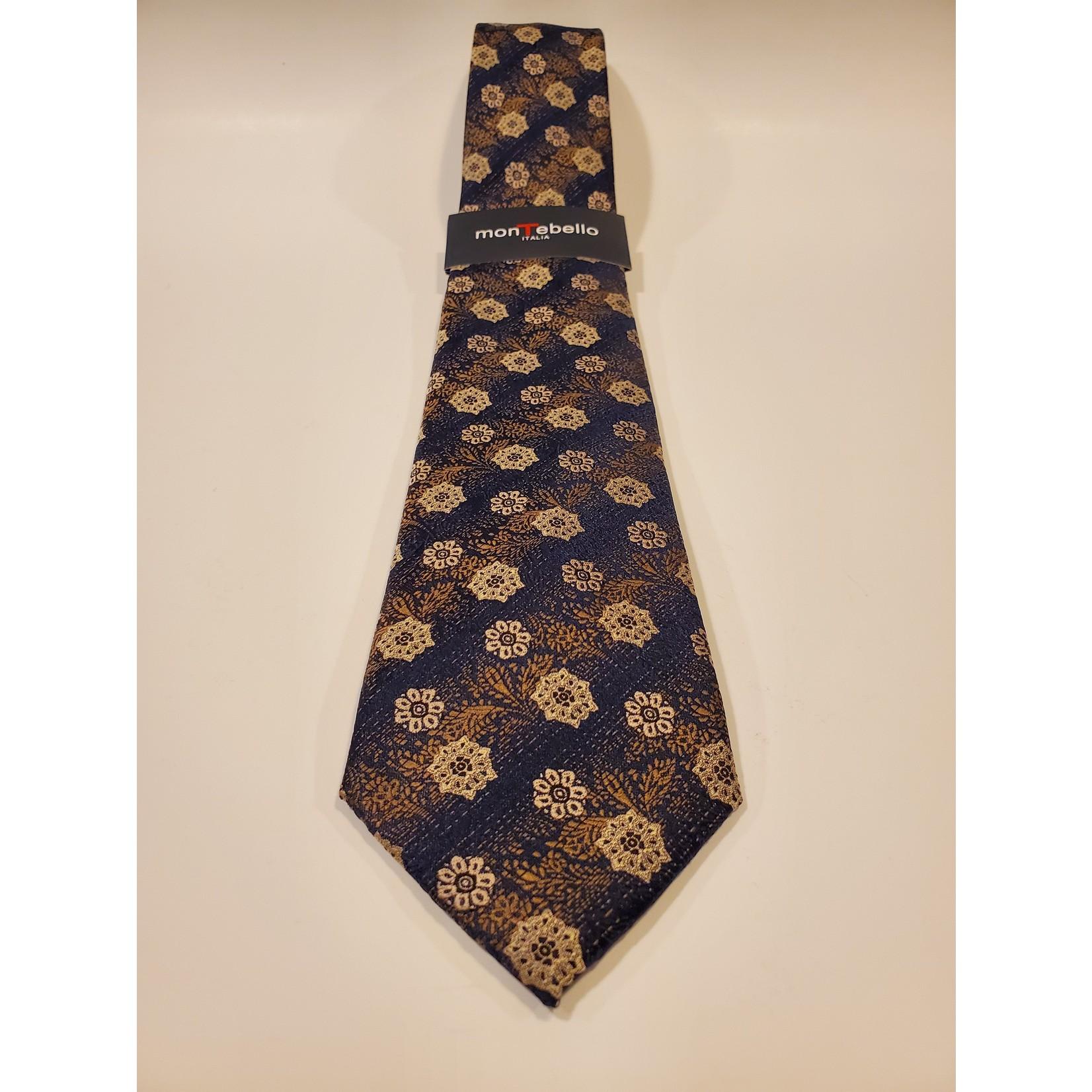 Montebello 1602 Jacquard Silk Tie - Beige Floral Pattern