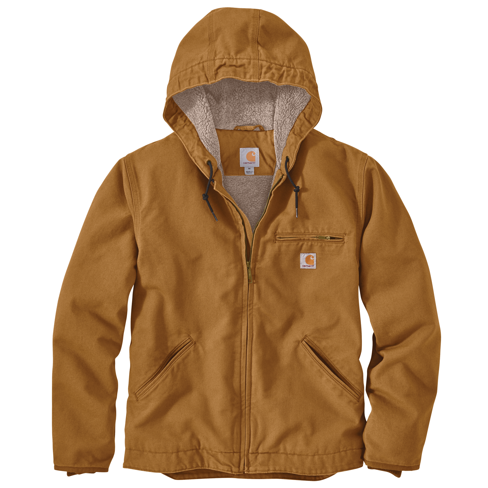 Carhartt Carhartt 104392 Relaxed Fit Washed Duck Sherpa Lined Jacket - BRN Carhartt Brown