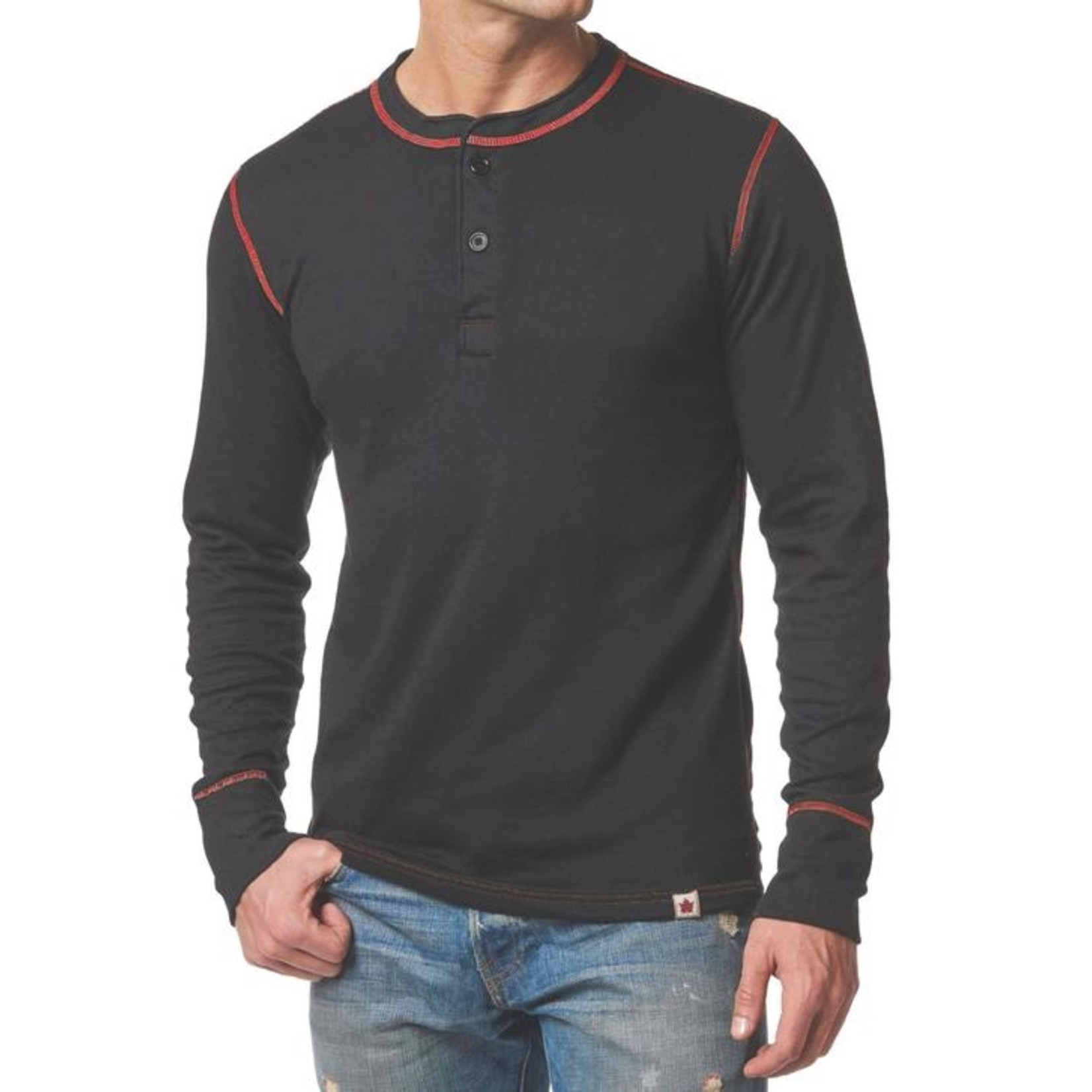 Stanfields Stanfields 1335 Heritage 2-Layer Henley - 540 Black/Red