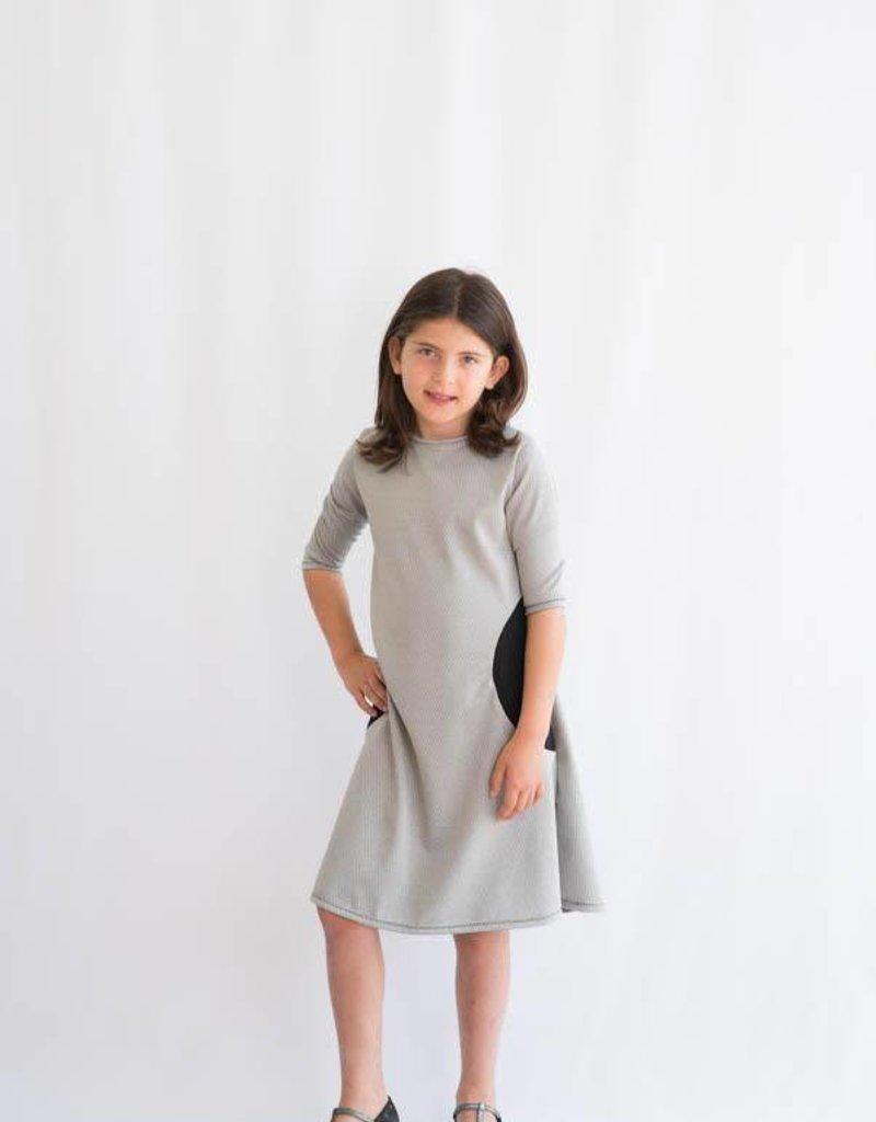 KMW Silvery w/black pkts dress