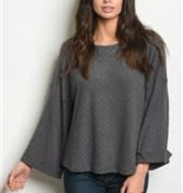 Loveriche Gray Knit Flared Sleeve