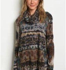 CY Fashion Cowl Tunic top w/back slit