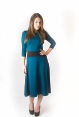 KMW Teal a-line dress with black inset waist
