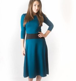 KMW Teal a-line dress with black inset waist