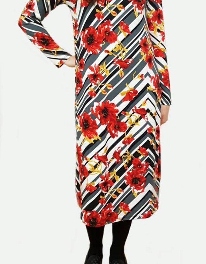 Genux Grey/black stripes, red flowers w/smock neckline