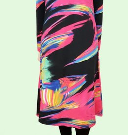 Genux Fuschia multi swirl dress w/ smock neckline