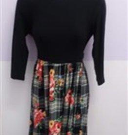 Chi Chi Blk top w/houndstooth-floral btm dress